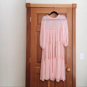 Sheer Baby Pink Layered Dress